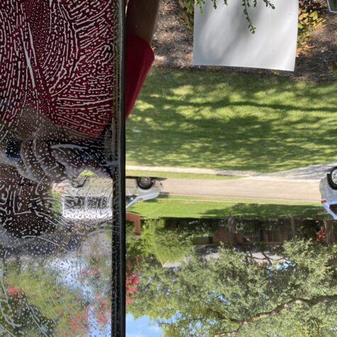 before and after view of window cleaning in Dallas TX