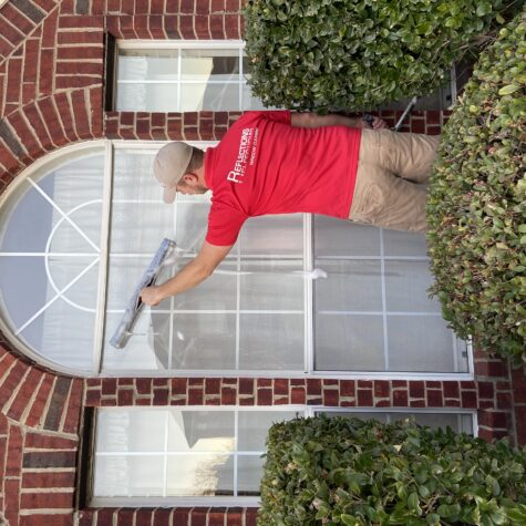 during professional window cleaning in Dallas